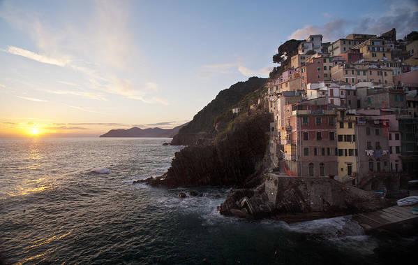 Riomaggio Poster featuring the photograph Riomaggio Sunset by Mike Reid