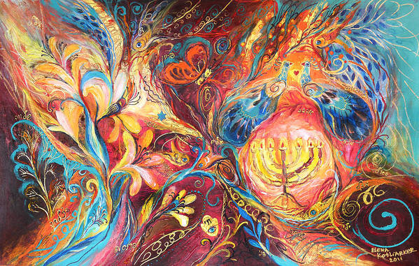Original Poster featuring the painting The Hanukkah Dream by Elena Kotliarker