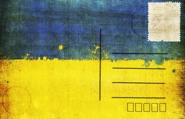 Address Poster featuring the photograph Ukraine Flag Postcard by Setsiri Silapasuwanchai