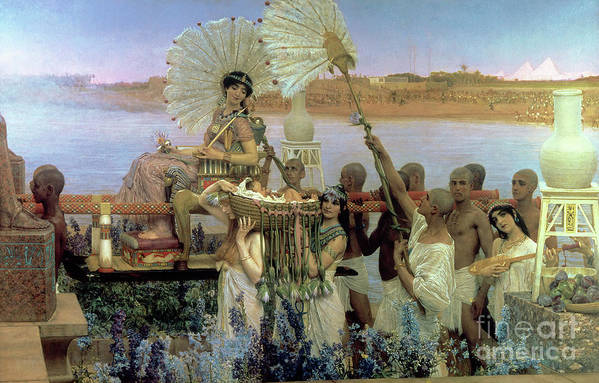 The Finding Of Moses By Pharaoh's Daughter Poster featuring the painting The Finding Of Moses by Sir Lawrence Alma Tadema