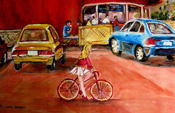 Orange Julep Poster featuring the painting Biking To The Orange Julep by Carole Spandau