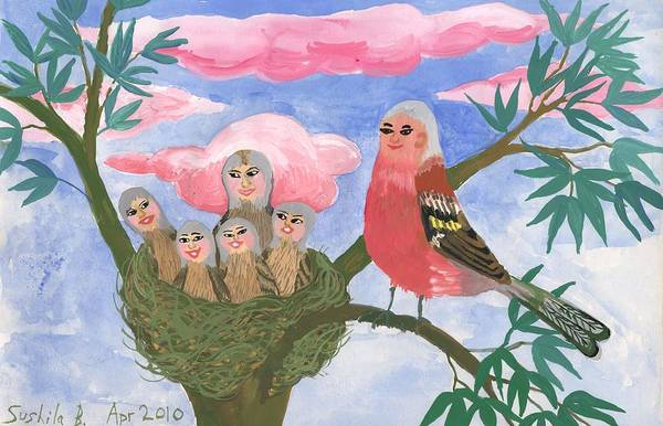 Bird People Poster featuring the painting Bird People The Chaffinch Family by Sushila Burgess