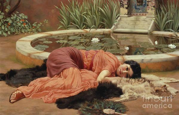 John William Godward Poster featuring the painting Dolce Far Niente by John William Godward