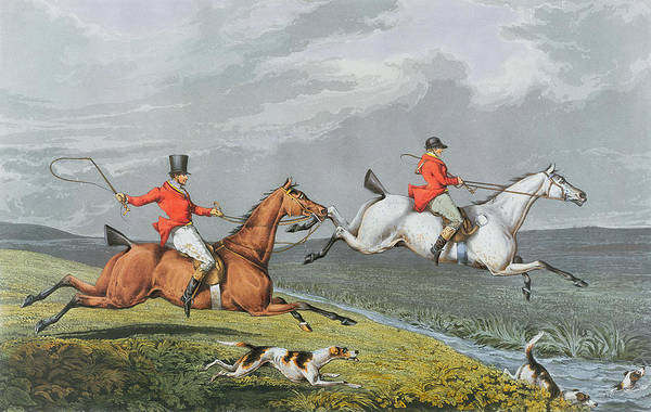 Fox Poster featuring the painting Fox Hunting - Full Cry by Charles Bentley