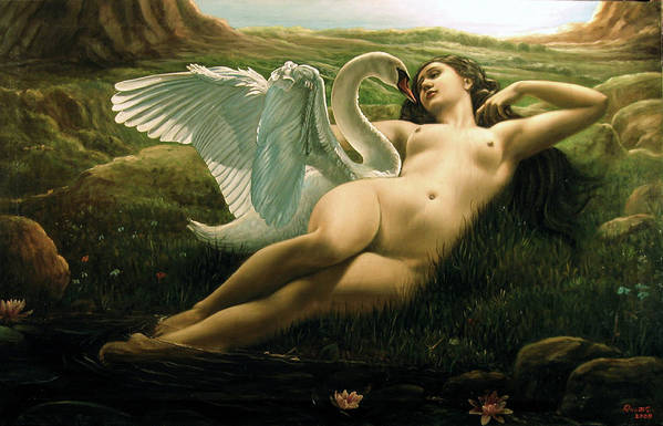 Leda And The Swan Poster featuring the painting Leda And The Swan - Sensual by Giovanni Rapiti