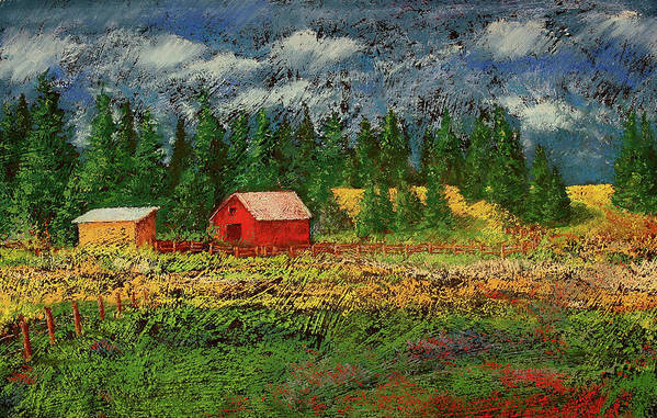 Soft Pastel Poster featuring the painting North Idaho Farm by David Patterson