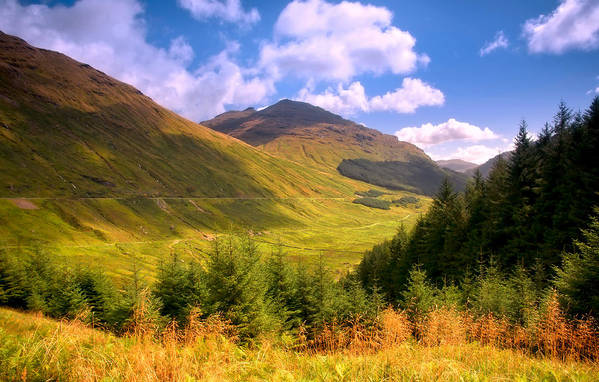 Scotland; Mountains; Rest And Be Thankful; Nature; Landscape; Bright Light; Light; Sun; Sunny; Warm Weather; Sky; Clouds; Scenery; Forest; Trees; Tranquility; Grass; Autumn; Summer; Beauty; Beautiful Nature; Fine Weather; Colorful; Colors; Shadow; Fine Art; Fine Art Photography; Artistic; Blesses Poster featuring the photograph Peaceful Sunny Day In Mountains. Rest And Be Thankful. Scotland by Jenny Rainbow
