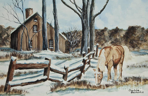 Horse Poster featuring the painting Winter Grazing by Charlotte Blanchard
