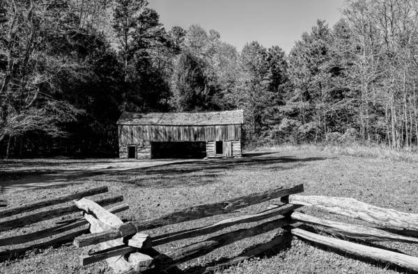 Historical Poster featuring the photograph Historical Cantilever Barn At Cades Cove Tennessee In Black And White by Kathy Clark