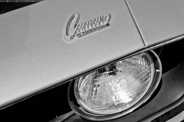 1969 Chevrolet Camaro Headlight Emblem Poster featuring the photograph 1969 Chevrolet Camaro Headlight Emblem by Jill Reger