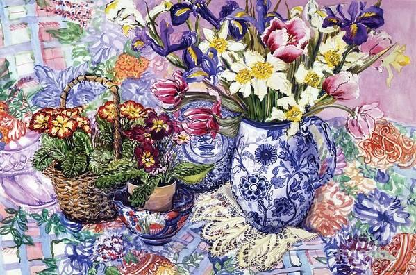 Daffodils; Daffodil; Tulips; Tulip; Iris; Irises; Jacobean Blue And White Jug; Blue And White Jug; Jug; Jugs; Jacobean Jug; Sanderson Fabric; Primroses; Primrose; Basket; Still Life; Bright; Colourful; Table; Table Cloth; Still-life Poster featuring the painting Daffodils Tulips And Iris In A Jacobean Blue And White Jug With Sanderson Fabric And Primroses by Joan Thewsey