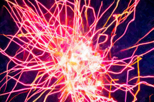 Fireworks At Night Poster featuring the painting Fireworks At Night 6 by Lanjee Chee