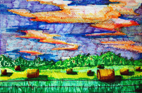 Clouds Poster featuring the drawing Hayfields by Jame Hayes