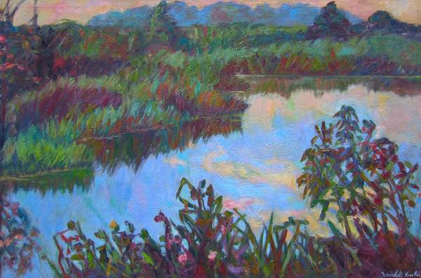 Landscape Poster featuring the painting Huckleberry Line Trail Rain Pond by Kendall Kessler