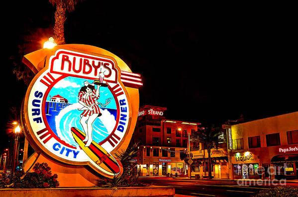Huntington Beach Poster featuring the photograph Huntington Beach Downtown Nightside 2 by Jim Carrell