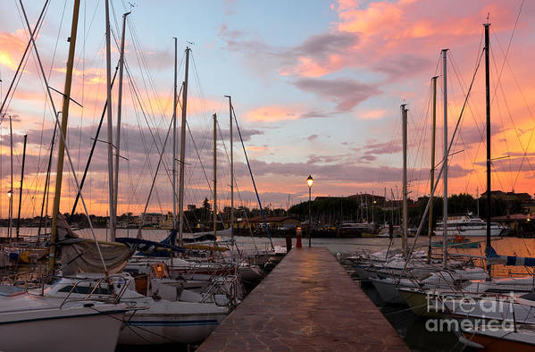 Port Poster featuring the photograph Marina In Desenzano Del Garda Sunrise by Kiril Stanchev