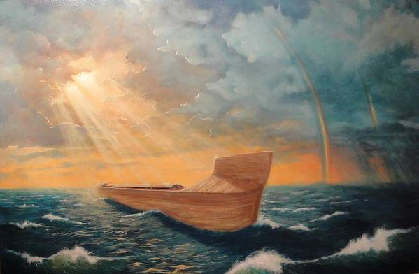 Flood Poster featuring the painting Noah's Ark by Clay Hibbard