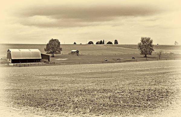 Pennsylvania Poster featuring the photograph Pastoral Pennsylvania Sepia by Steve Harrington