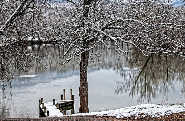 Painterly Shenandoah River Poster featuring the photograph Shenandoah Winter Serenity by Lara Ellis