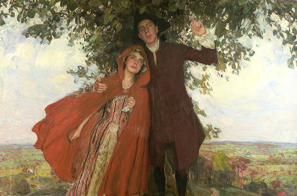D'urberville; Heroine; Thomas Hardy; 1840-1928; Lovers; Fleeing; Red Cape; Landscape; Shelter; Tree; Love; Mixed Emotions Poster featuring the painting Tess Of The D'urbervilles Or The Elopement by William Hatherell