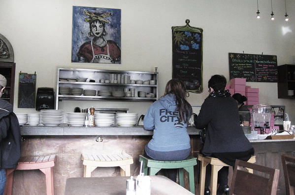 Two Ladies On Stools Poster featuring the photograph 2 Girls At The Bakery Bar by Kym Backland