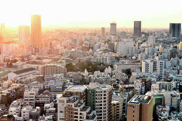 Horizontal Poster featuring the photograph Cityscape Of Tokyo by Keiko Iwabuchi