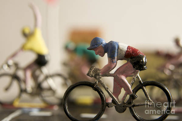 Tour Poster featuring the photograph Cyclists. Figurines. Symbolic Image Tour De France by Bernard Jaubert