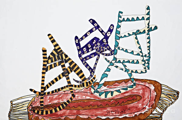 Chairs Poster featuring the drawing Dancing Chairs by Stephanie Ward
