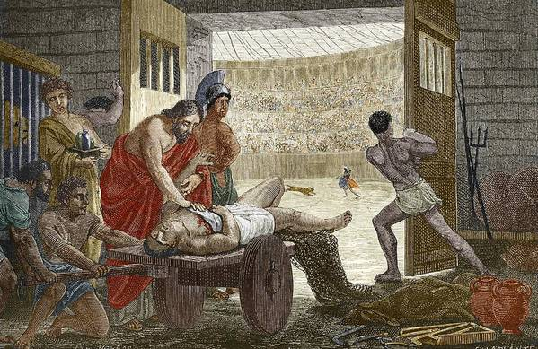 Claudius Galenus Poster featuring the photograph Galen Treating A Gladiator In Pergamum by Sheila Terry