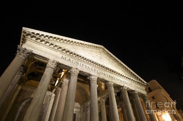 Views Poster featuring the photograph Pantheon At Night. Rome by Bernard Jaubert