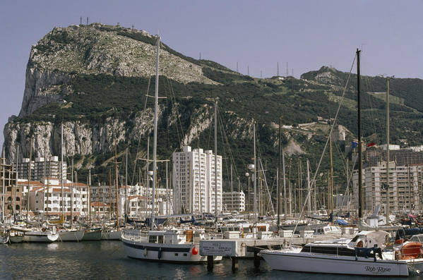 Outdoors Poster featuring the photograph Sailboats Moored In Gibraltar Bay by Lynn Abercrombie