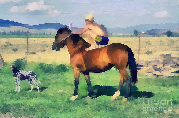 Odon Poster featuring the painting The Cowboy by Odon Czintos