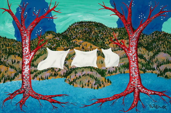 Trees Poster featuring the painting Three Sheets To The Wind by Randall Weidner