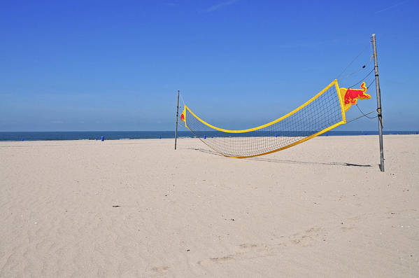 Horizontal Poster featuring the photograph Volleyball Net On Beach by Leuntje