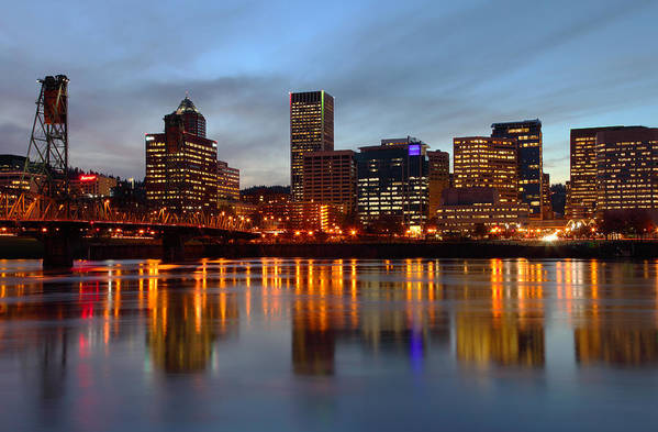 Blue Poster featuring the photograph Portland Oregon At Dusk. by Gino Rigucci