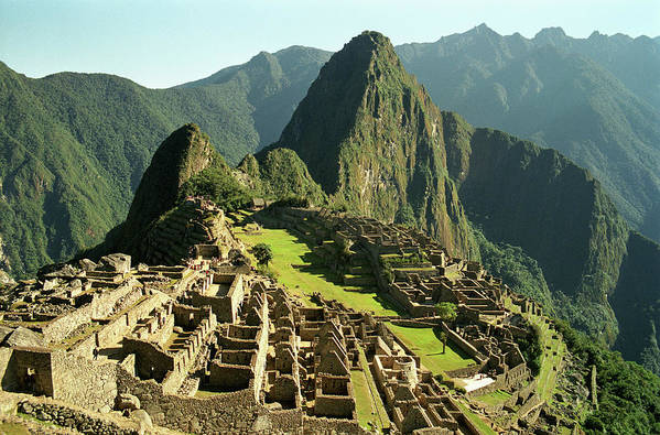 Horizontal Poster featuring the photograph The Ruins Of Machu Picchu, Peru, Latin America by Brian Caissie
