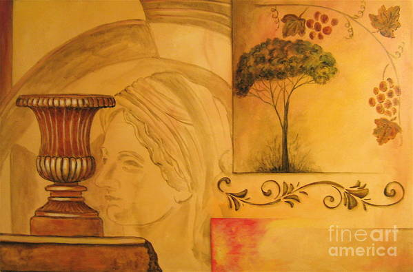 Angelica Dichiara Poster featuring the painting Abstract Tuscany Garden by Italian Art