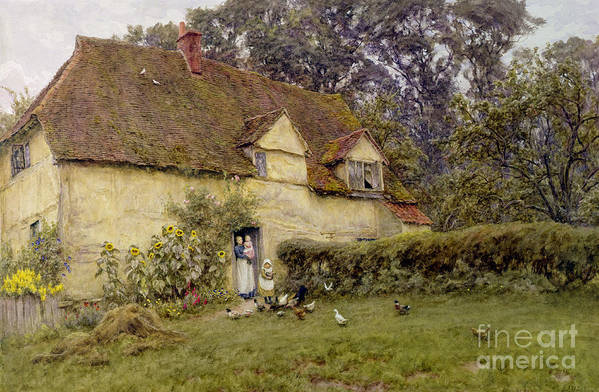 Fowl; Cottage; Victorian; Garden; House; Dormer Window; Sunflower; Child; Rural Poster featuring the painting Feeding The Fowls by Helen Allingham