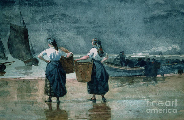 Fisher Girls By The Sea (w/c On Paper)probably Cullercoats Poster featuring the painting Fisher Girls By The Sea by Winslow Homer