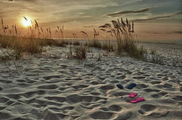 Alabama Photographer Poster featuring the digital art Flipflops On The Beach by Michael Thomas