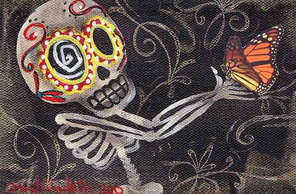 Day Of The Dead Poster featuring the painting Holding Life by Abril Andrade Griffith