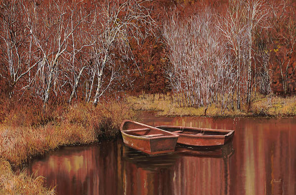 Boats Poster featuring the painting Le Barche Sullo Stagno by Guido Borelli