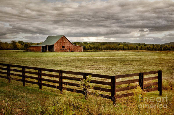 Red Barn Poster featuring the photograph Rural Tennessee Red Barn by Cheryl Davis