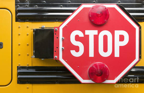 Bus Poster featuring the photograph Stop Sign On School Bus by Andersen Ross