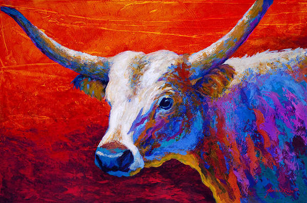 Longhorn Poster featuring the painting Sunset Ablaze by Marion Rose