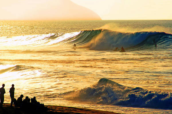 Rock Piles Poster featuring the photograph Sunset Surfers by Kevin Smith