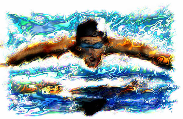 Swimmer Poster featuring the mixed media The Butterfly by Russell Pierce