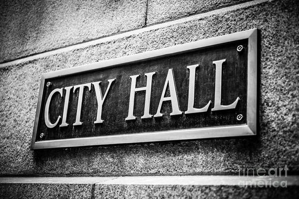 America Poster featuring the photograph Chicago City Hall Sign In Black And White by Paul Velgos