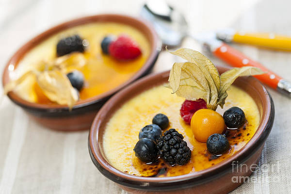 Creme Brulee Poster featuring the photograph Creme Brulee Dessert by Elena Elisseeva