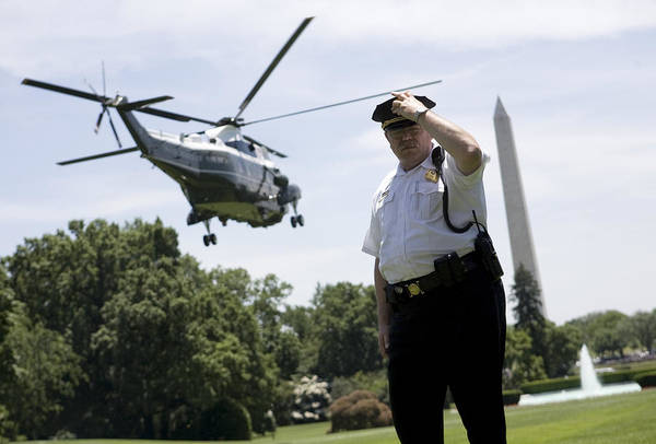 Barack Obama Poster featuring the photograph Marine One by JP Tripp